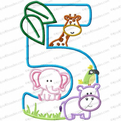 Jungle-Safari-Zoo 5th Birthday Applique Embroidery Design