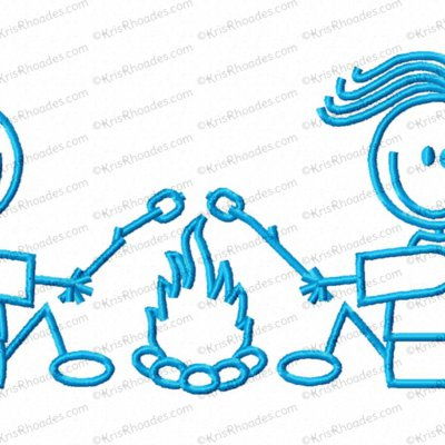 Stick Figure Campfire Couple Embroidery Design