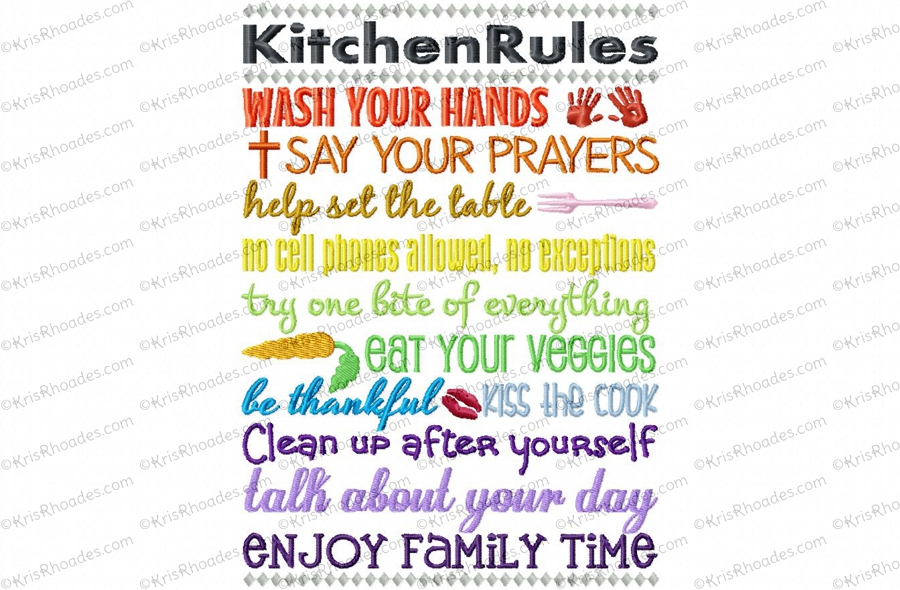 Kitchen rules subway art embroidery design for Kitchen design rules