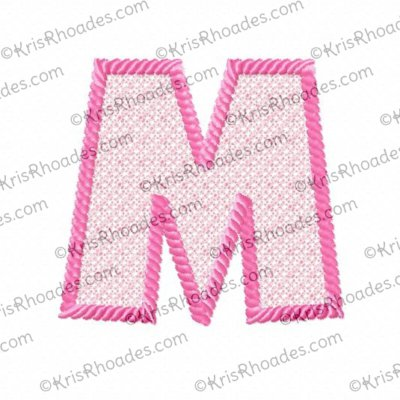 3 inch M Lace-Filled with Rope Outline Embroidery Design