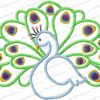 Pretty Peacock Applique Embroidery Design