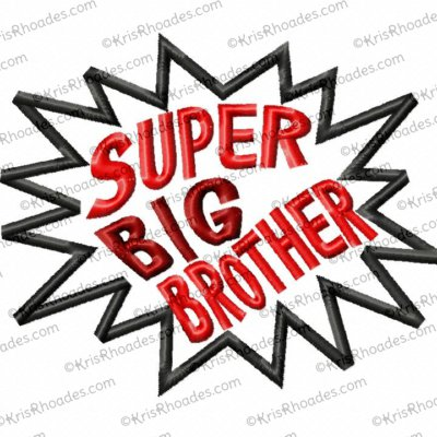 Super Sibling and Side Kick Applique Embroidery Design