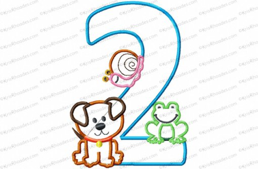 Frog-Snail-Puppy 2nd Birthday Applique Embroidery Design