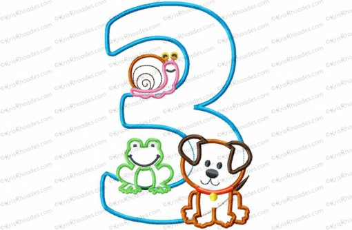 Frog-Snail-Puppy 3rd Birthday Applique Embroidery Design