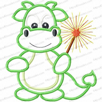 Boy Dragon with Sparkler Applique Embroidery Design