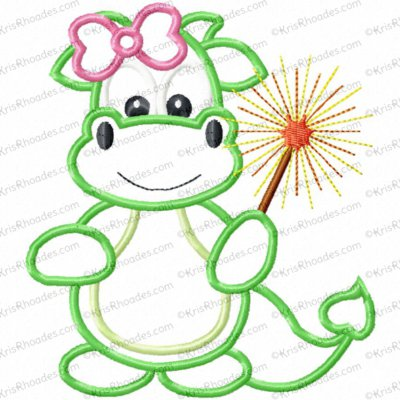 Girl Dragon with Sparkler Applique Embroidery Design