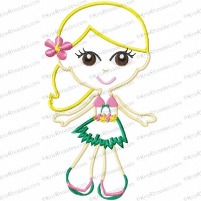 Luau Party Island Hula Girl Applique Embroidery Design