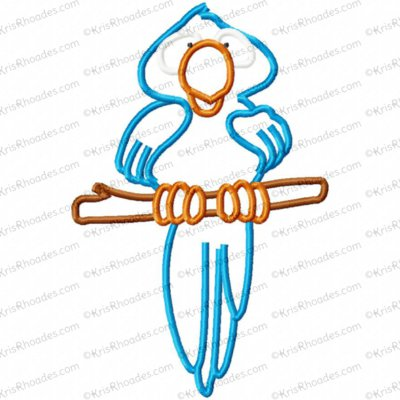 Blue Macaw Bird Applique Embroidery Design