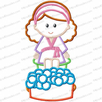 Spa Day Girl Applique Embroidery Design