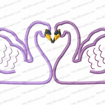 Adult Swans Pair Applique Embroidery Design