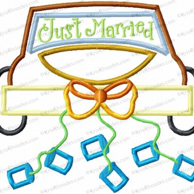 Just Married Car Applique Embroidery Design