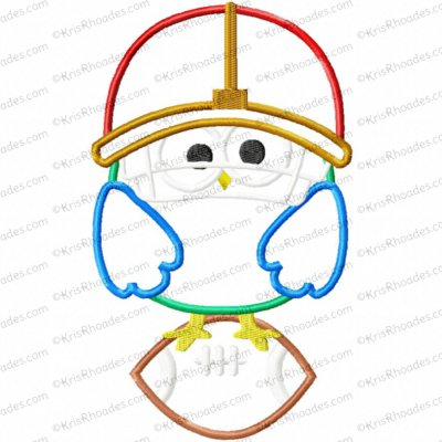 Owl on Football Applique Embroidery Design