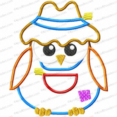 Scarecrow Owl Applique Embroidery Design