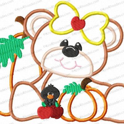 Bear and Pumpkins Applique Embroidery Design