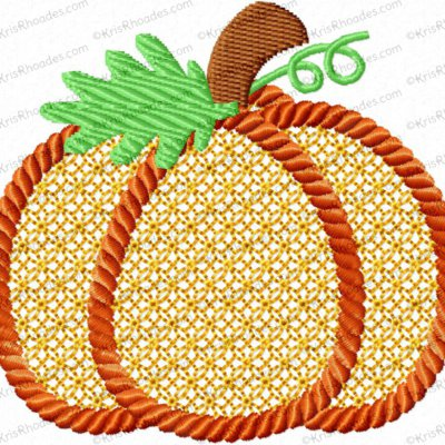3 inch Pumpkin Lace-Filled with Rope Outline Embroidery Design