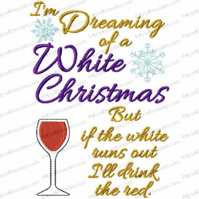 White Christmas Drink Embroidery Design