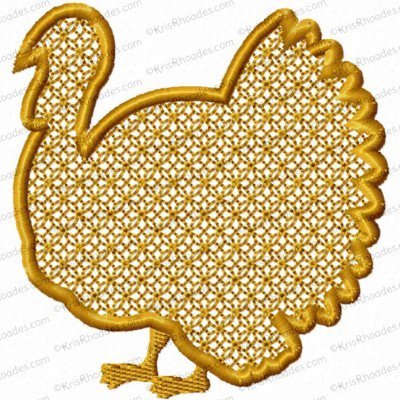 Embossed Turkey Embroidery Design
