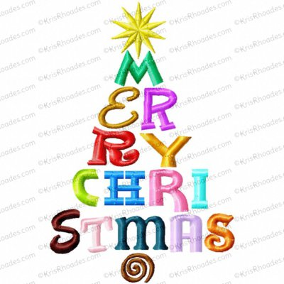 Merry Christmas Fonts Tree Embroidery Design