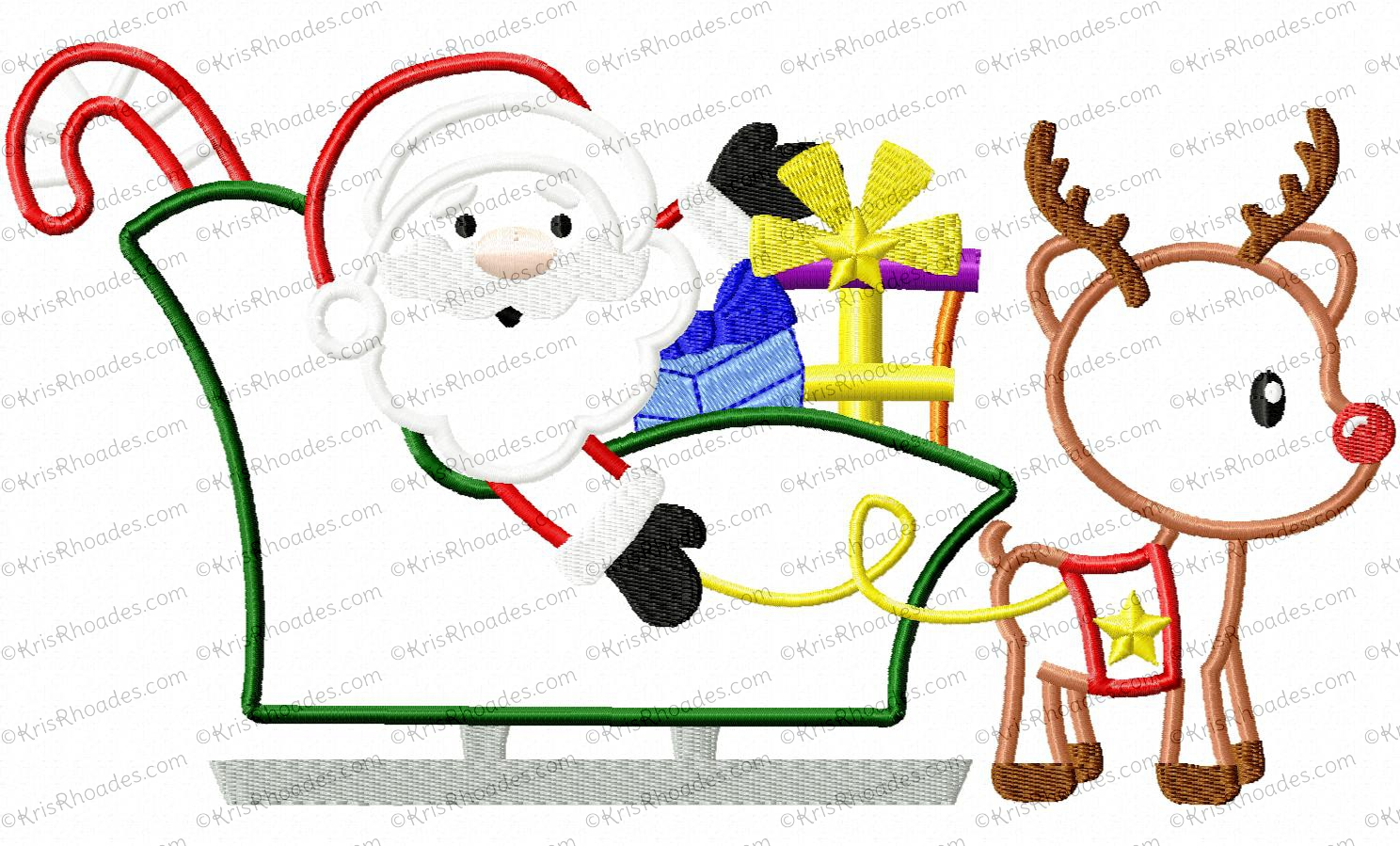 santa sleigh and reindeer applique embroidery design