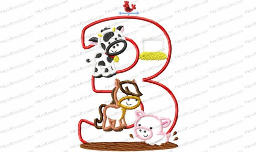 Farm Animal 2nd Birthday Applique Embroidery Design