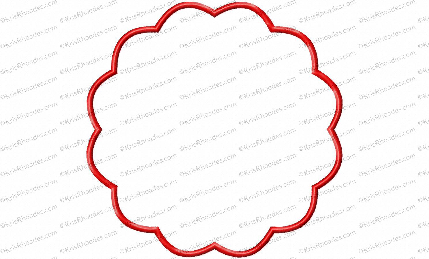 Scalloped Circle Frame Applique Embroidery Design