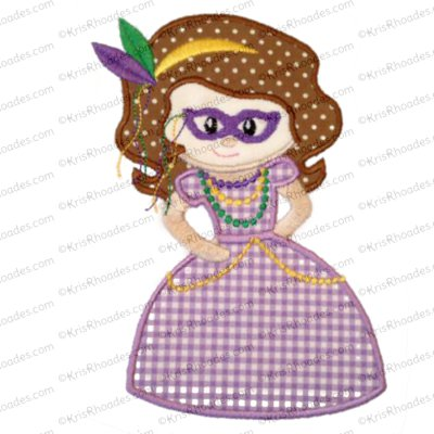 Mardi Gras Cutie Princess Applique Embroidery Design