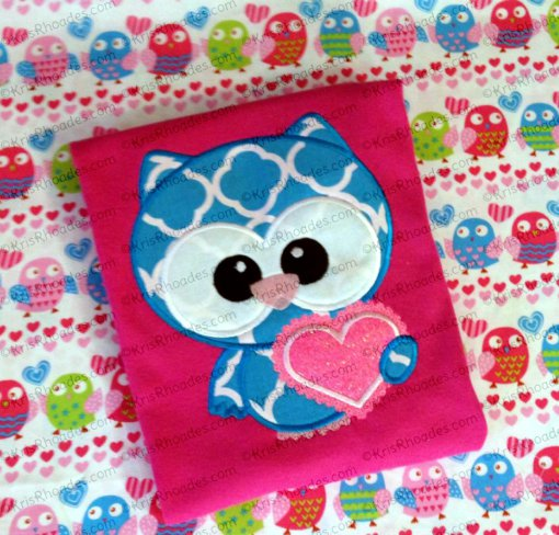 Owl Always Love You with Heart Applique Embroidery Design