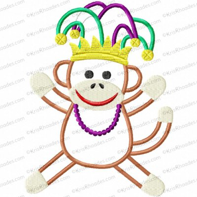 Mardi Gras Sock Monkey Applique Embroidery Design