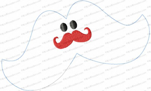 Mustache Stuffie In The Hoop Embroidery Design
