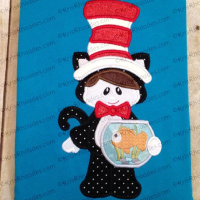 cat in hat with fishbowl by arlene