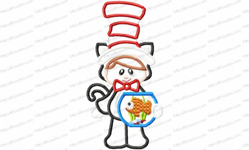 Cat in Hat with Fishbowl Applique Embroidery Design