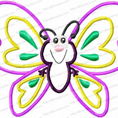 Cute Butterfly Applique Embroidery Design