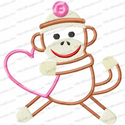 Valentine Sock Monkey Applique Embroidery Design