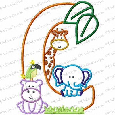 Letter C Jungle-Safari-Zoo Applique Embroidery Design