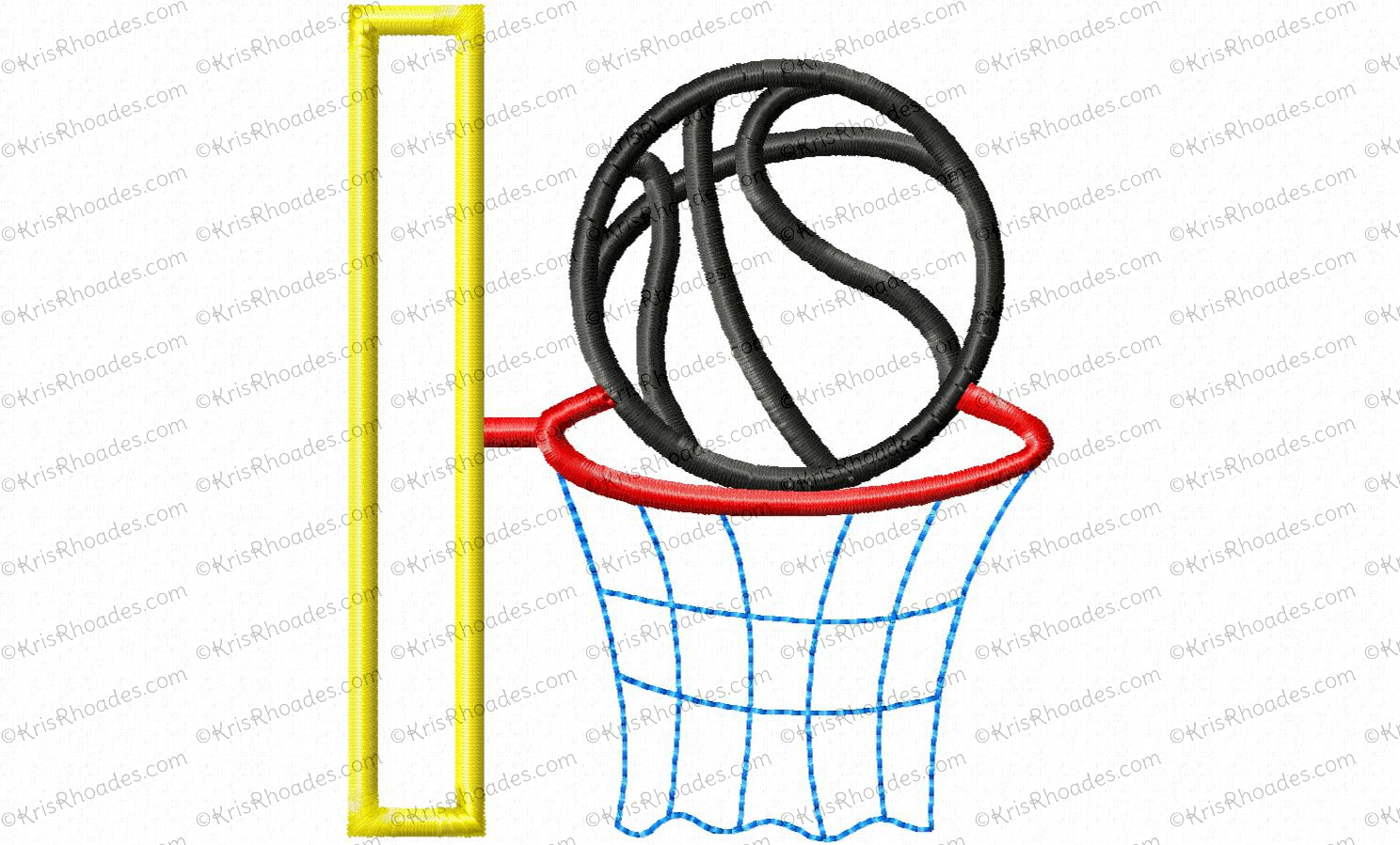 Basketball and hoop applique embroidery design