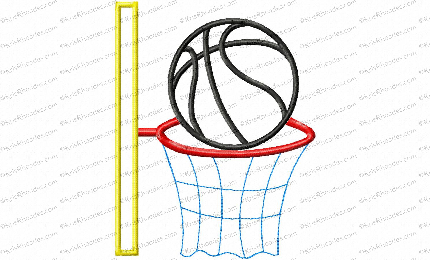 basketball and hoop 5x7