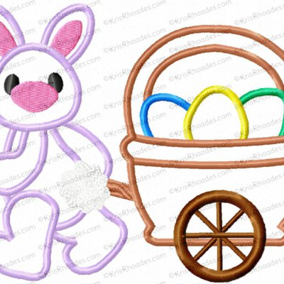 Easter Bunny Pulling Wagon Applique Embroidery Design