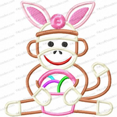 Easter Bunny Sock Monkey Applique Embroidery Design