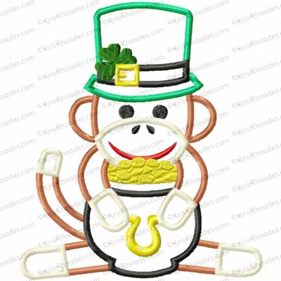 Leprechaun Sock Monkey Applique Embroidery Design