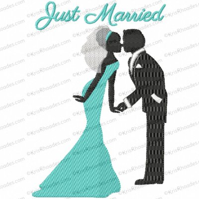 Wedding Kissing Couple Embroidery Design