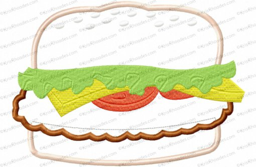 hamburger applique 6x10