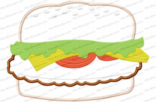 hamburger applique 8x12