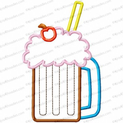 Root Beer Float Applique Embroidery Design
