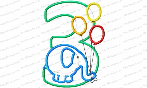 Basic Elephant with Balloons 3rd Birthday Applique Embroidery Design