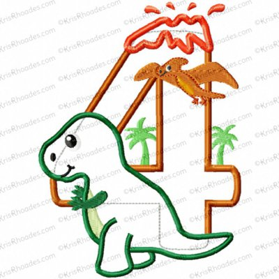 Dinosaur 4th Birthday with T-Rex Applique Embroidery Design