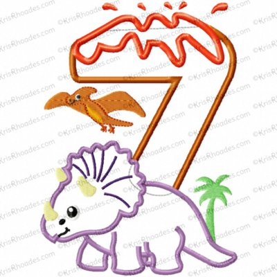 Dinosaur 7th Birthday with Triceratops Applique Embroidery Design