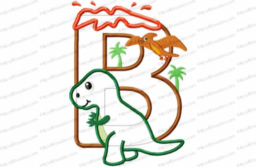 Dinosaur Birthday Letter B with T-Rex Applique Embroidery Design