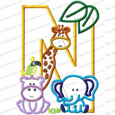 Letter N Jungle-Safari-Zoo Applique Embroidery Design