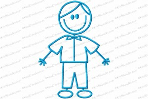 stick figure boy 2 5x7