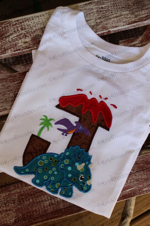 Dinosaur Birthday Letter J with Triceretops Applique Embroidery Design